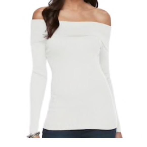 826b470a1f4 Jennifer Lopez Tops   Jlo Off The Shoulder Sweater   Poshmark